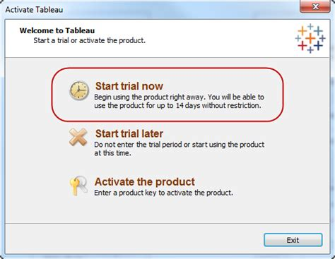 free trial activating a free trial tableau software