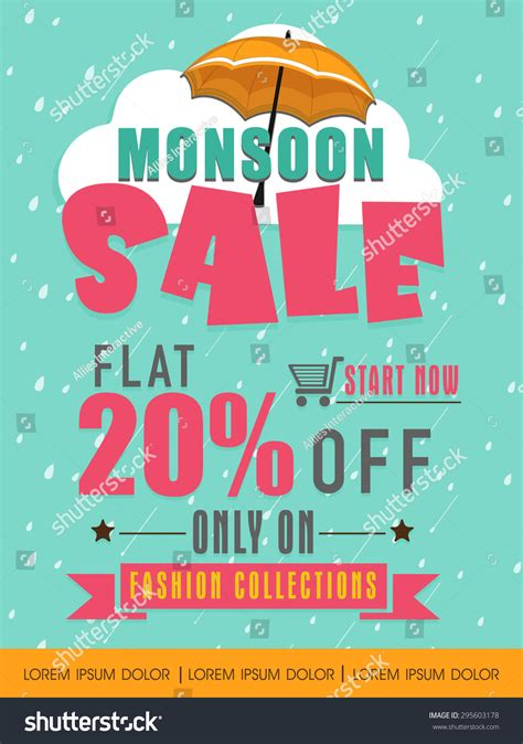 offer advertisement template monsoon sale with flat 20 discount offer on fashion