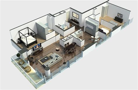 House Plans With Large Windows 50 three 3 bedroom apartment house plans architecture