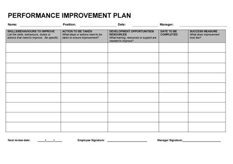 30 day performance improvement plan template gallery