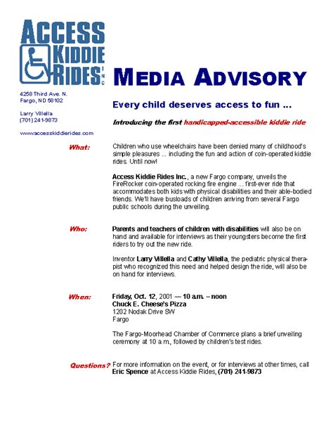 media advisory template mc 307 sle media alert advisory