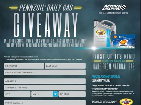 Advance Auto Sweepstakes - 2014 pennzoil advance auto parts free gas sweepstakes