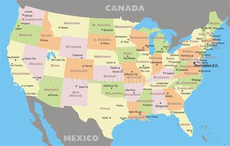map of united states of america with major cities states and capitals of the united labeled map us at state