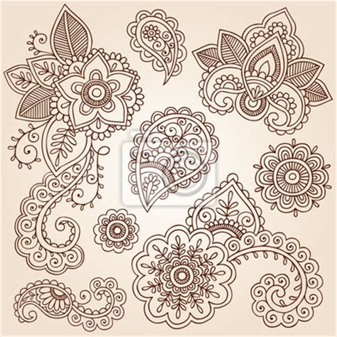wall mural henna paisley tattoo mandala doodles vector