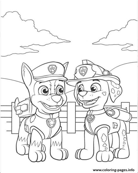 paw patrol printable coloring pages chase paw patrol marshall talking with chase coloring pages