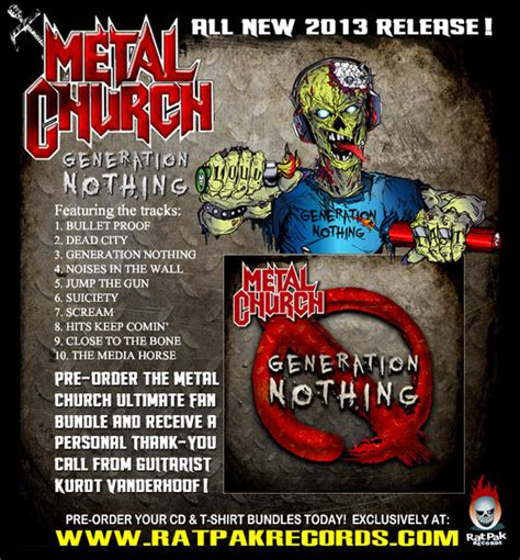 Kaos Keren Metal Church Generation No Thing rat pak records set to release metal church quot generation nothing quot screamer magazine