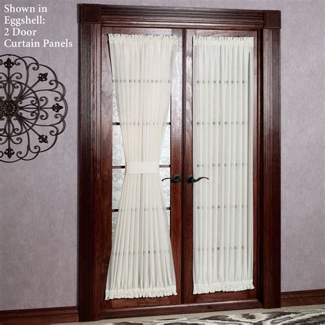 door curtain panels reverie snow voile semi sheer door panels