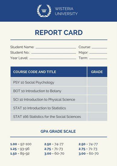 College Poster Templates Canva Report Card Template College