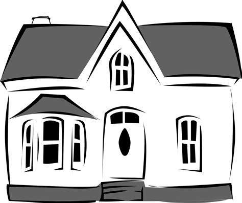 black  white cartoon house clipart