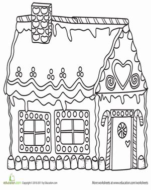 decorated house coloring pages gingerbread house worksheet education com