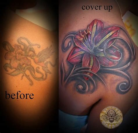 tattoo cover up girl 55 lily tattoos on back shoulder