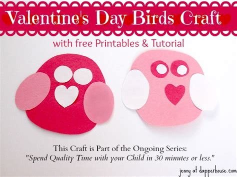 printable valentine paper crafts easy valentine s day bird craft with free printables