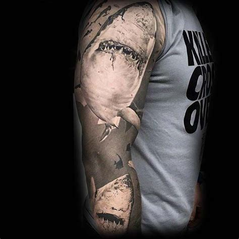 shaded sleeve tattoos for men with grey ink shaded realistic 3d shark sleeve