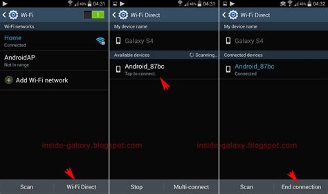 wifi direct android samsung galaxy s4 how to enable and use wi fi direct feature to transfer files in android 4 4