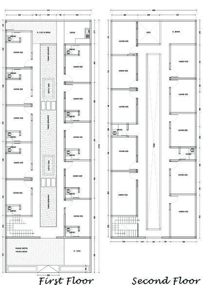 denah rumah kost sederhana  lantai militer   desain rumah rumah desain