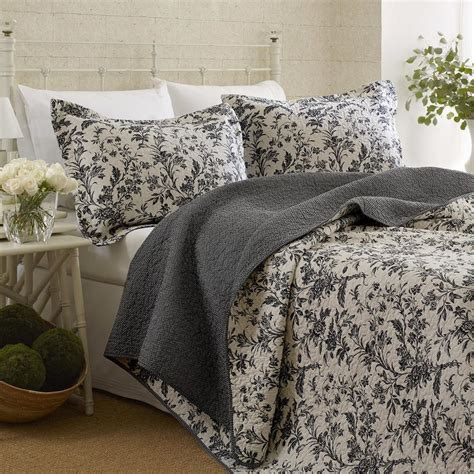 dark grey coverlet reversible coverlet set quilt and 2 shams floral white