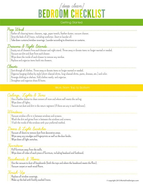 cleaning bedroom checklist deep clean bedroom checklist free printable included