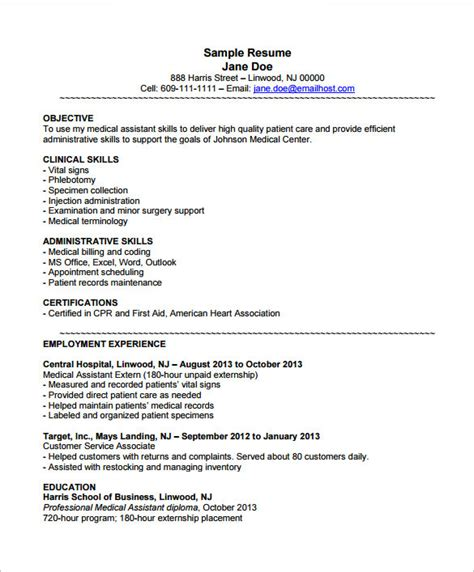 medical assistant resume template 8 free sles