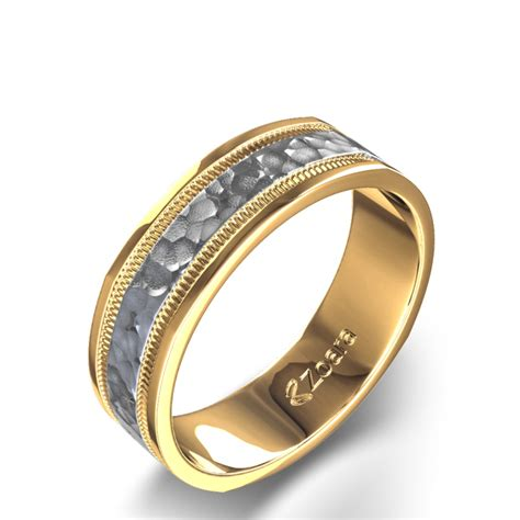 mens wedding ring gold hammered finish s wedding ring in 14k white and yellow