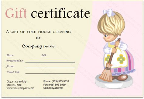 cleaning services gift certificate template