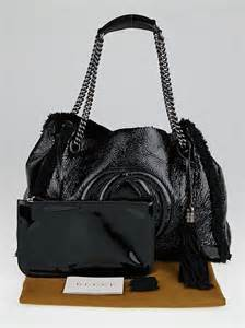 Shopping Clarks Crushed Leather Tote by Gucci Crushed Black Patent Leather And Wool Shearling Soho