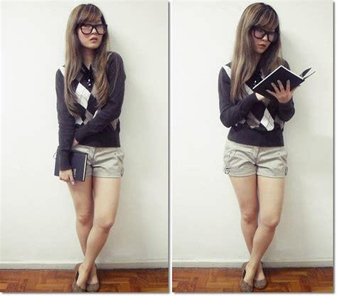 Talita Sweater chung stylenanda tortoise glasses talita kume argyle sweater secia satin shorts