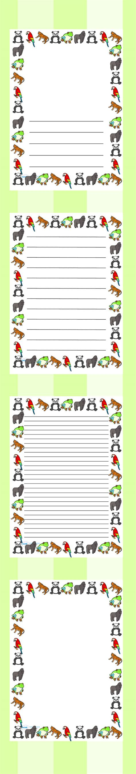 lined paper with rainforest border twinkl resources gt gt jungle and rainforest page borders