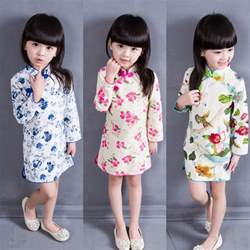 Chinese style kids spring autumn baby girl clothes in dresses from