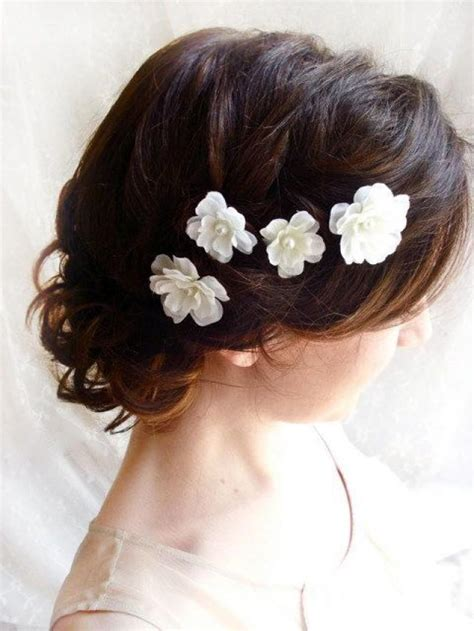 wedding hair flowers pins white flower hair pins white bridal hair accessories