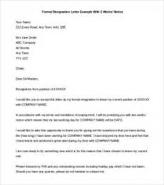 Written Notice Template Uk by Two Weeks Notice Letter 31 Free Word Pdf Documents
