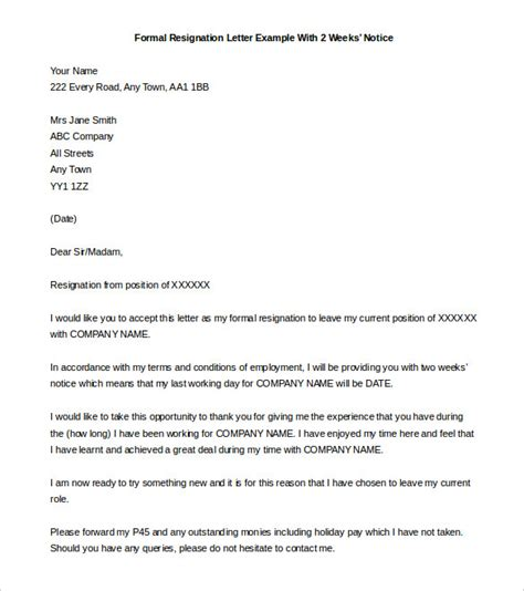 Sle Letter Of Resignation 2 Weeks Notice by Resignation Letter Exle Resignation Letter Two Weeks Notice Format Formal Resignation