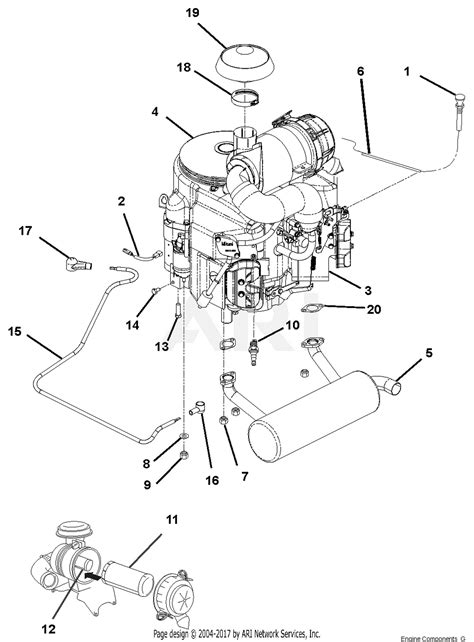 gravely   pro ride  hp kawasaki  mower parts diagram  engine