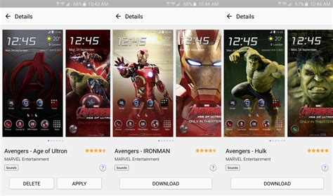 theme line android marvel one avenger is curiously absent from samsung s top theme