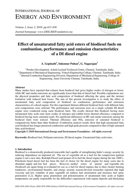 effect  unsaturated fatty acid esters  biodiesel fuels  combustion performance