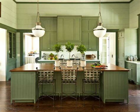 green kitchen cabinets painted green island pendant design ideas