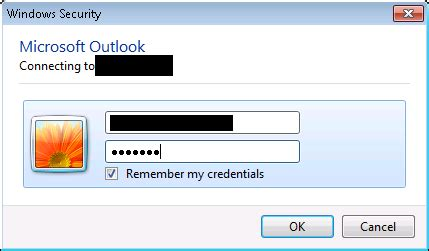 outlook login windows security pops up every time user