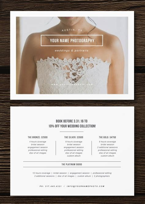 Wedding Photographer Pricing Flyer Branding And Marketing Materials For Photographers Price Free Wedding Pricing Template