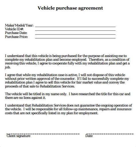 Purchase Agreement Letter Template Sle Vehicle Purchase Agreement 9 Documents In Pdf