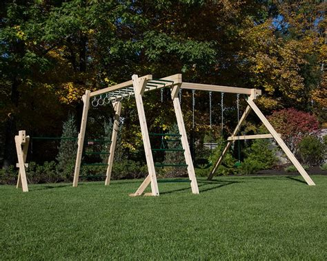 Monkey Set white cedar monkey bars and swing set with turning bar