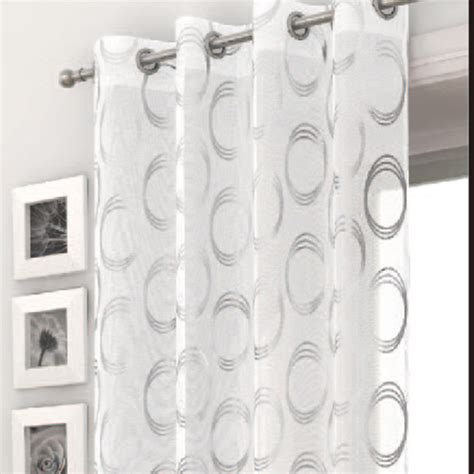White And Silver Valance Katy White Silver Voile Curtain Panel Harry Corry Limited