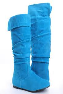 turquoise faux suede flat knee high pull on boots s