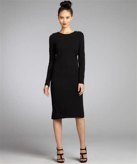 Sizzling Black Knitted Long Sleeve Dress Collection For Black Sleeve