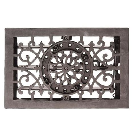 iron scroll floor l cast iron 11 1 2 inch flower and scroll floor register