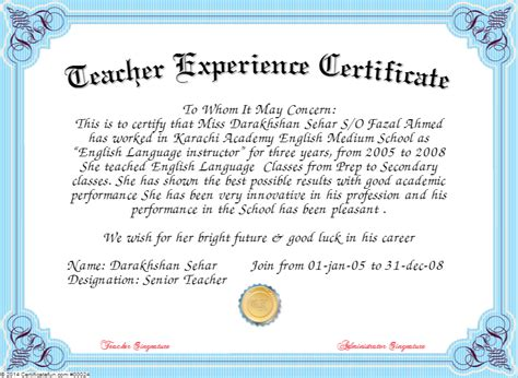 certificate of experience template certificate templates hundreds of certificate sles