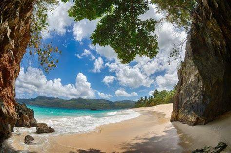 beach tropical sand mountain caribbean palm trees