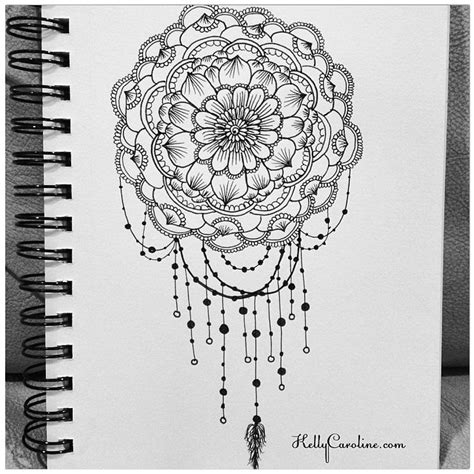mandala henna design drawing with some dreamcatcher and