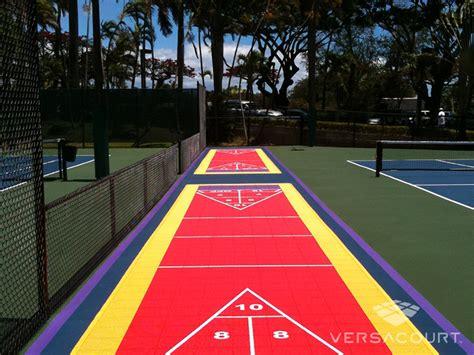 backyard shuffleboard court versacourt outdoor shuffleboard courts