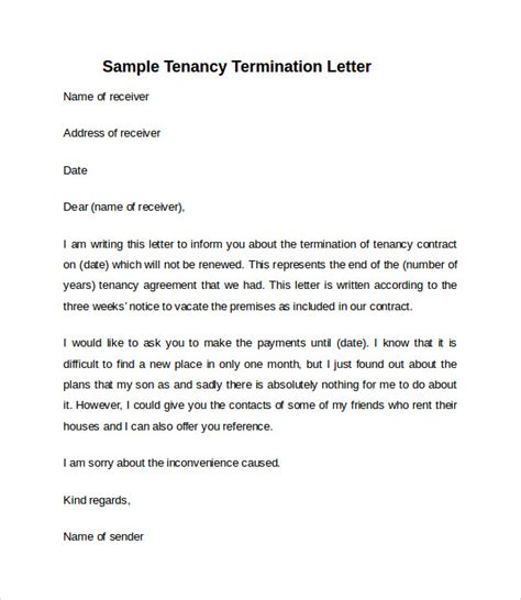 sample notice vacate letter templates