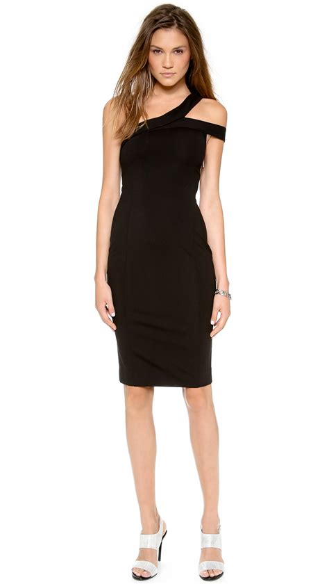 Black Shoulder Dress lyst nicholas the shoulder ponte dress in black