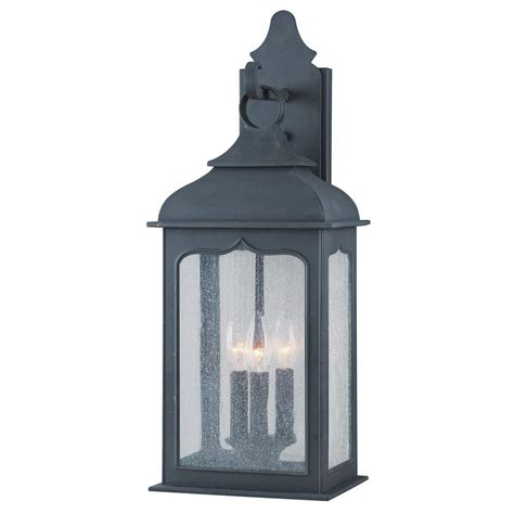 troy lighting henry 3 light colonial iron outdoor wall mount lantern b2012ci the home depot